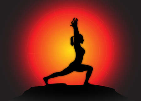 flexible woman: A yoga woman silhouette performing high lunge pose on a dark colourful background