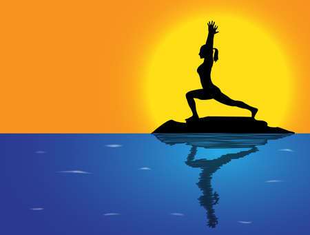 high sea: A woman silhouette performing high lunge pose on a rock in the sea Illustration