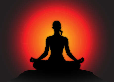 flexible woman: A yoga woman silhouette performing a lotus pose on a dark colourful background