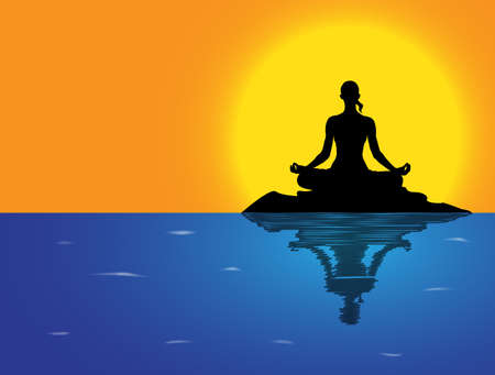 supple: A woman silhouette performing a lotus pose on a rock in the sea Illustration