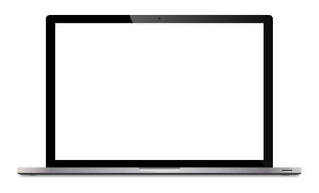 laptop screen: A realistic silver laptop screen isolated on a white background