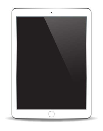 hand held computer: A realistic white tablet isolated on a white background