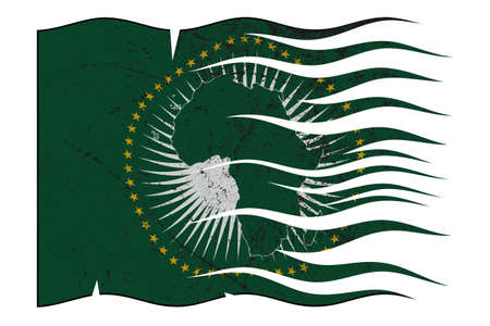 A wavy and grunged African Union flag design isolated on a white background
