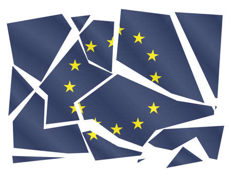 blue signage: A broken EU flag isolated on a white background