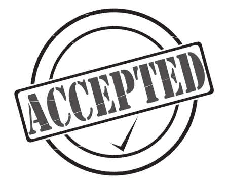 accepted: A black accepted stamp seal of approval isolated on a white background