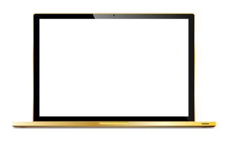 laptop isolated: A realistic gold laptop isolated on a white background Illustration