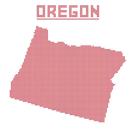 oregon coast: A dot map of Oregon state isolated on a white background Illustration