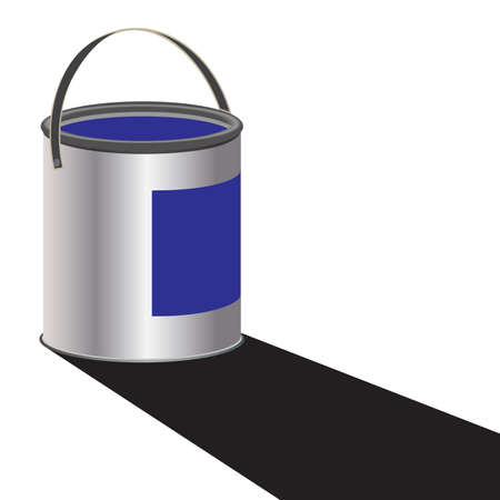 stir: A can of blue paint with a shadow isolated on a white background
