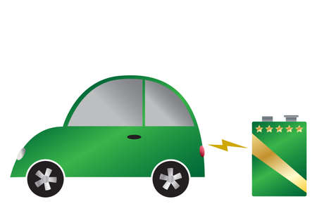9v battery: An electric car and 9v battery isolated on a white background