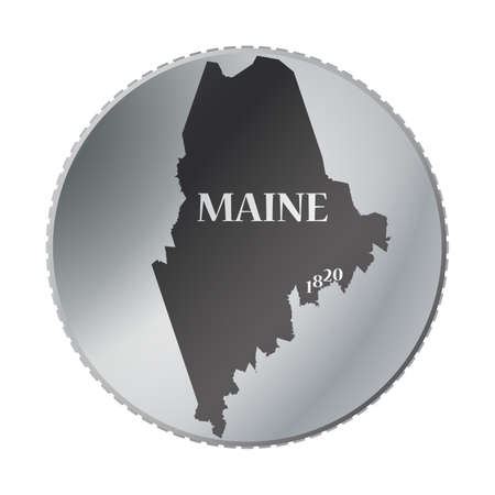 maine: A Maine state coin isolated on a white background Illustration