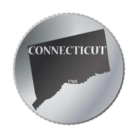 connecticut: A Connecticut state coin isolated on a white background