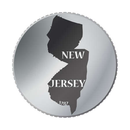 A New Jersey state coin isolated on a white background Illustration