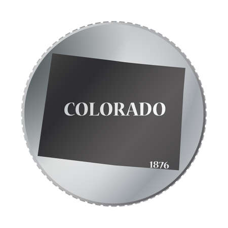 colorado: A Colorado state coin isolated on a white background