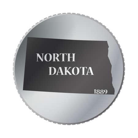 dakota: A North Dakota state coin isolated on a white background