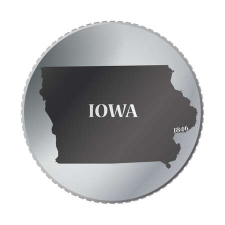iowa: An Iowa state coin isolated on a white background