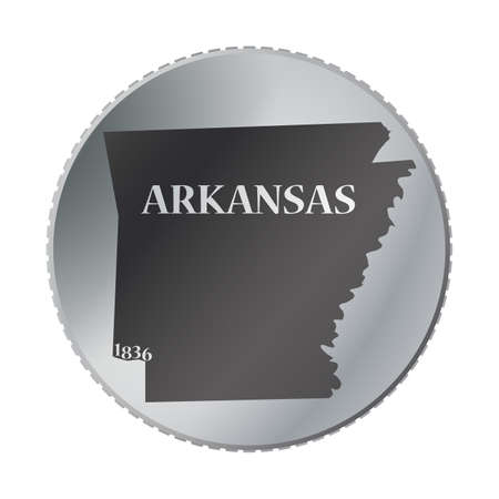 arkansas: An Arkansas state coin isolated on a white background
