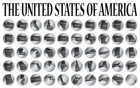 50 coins representing the 50 states of the USA isolated on a white background
