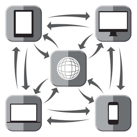 Electronic device grey icons connected to the web and each other isolated on a white background Illustration