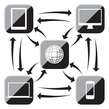 Electronic device black and white icons connected to the web and each other isolated on a white background