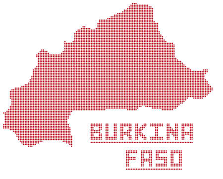 A dot map of Burkina Faso isolated on a white background