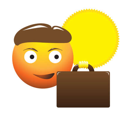 demonstrate: A business man with sunburn emoticon isolated on a white background