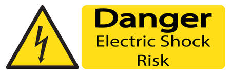 or electrocution: A triangular yellow shock warning sign with text isolated on a white background