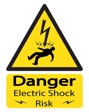 electrocuted: A triangular yellow shock warning sign with an electrocuted man and text isolated on a white background