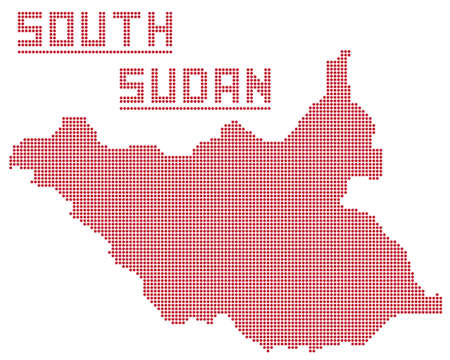A dot map of South Sudan Africa isolated on a white background Illustration