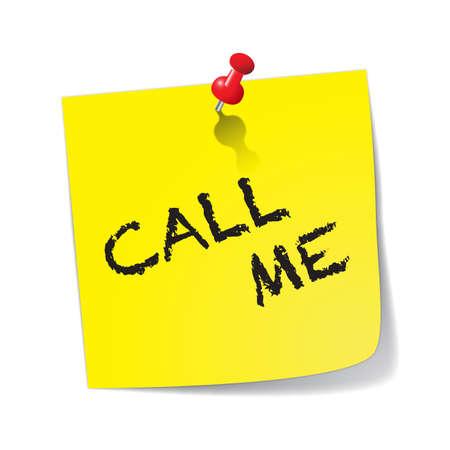 Een gele plaknotitie zegt bel me met een rode speld geïsoleerd op een witte achtergrond Vector Illustratie