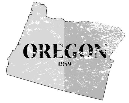 A grunged oregon state outline with the date of statehood isolated on a white background