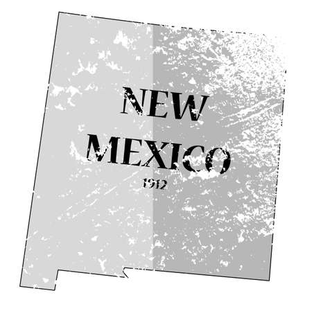 A grunged New Mexico state outline with the date of statehood isolated on a white background