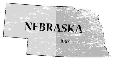 statehood: A grunged Nebraska state outline with the date of statehood isolated on a white background