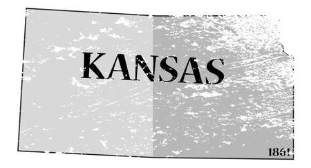 statehood: A grunged Kansas state outline with the date of statehood isolated on a white background Illustration