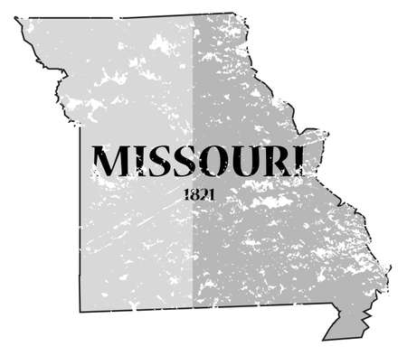 statehood: A grunged Missouri state outline with the date of statehood isolated on a white background Illustration
