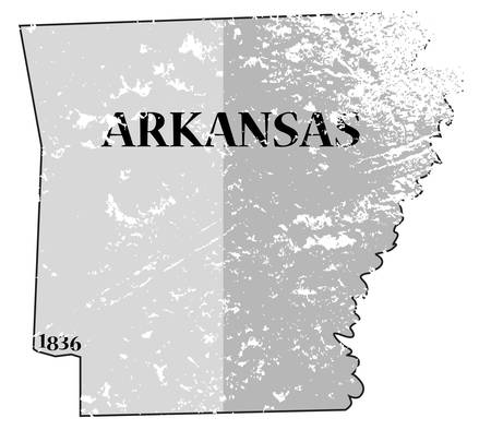 statehood: A grunged Arkansas state outline with the date of statehood isolated on a white background