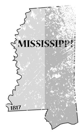 statehood: A grunged Mississippi state outline with the date of statehood isolated on a white background