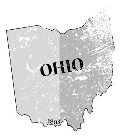 statehood: A grunged Ohio state outline with the date of statehood isolated on a white background