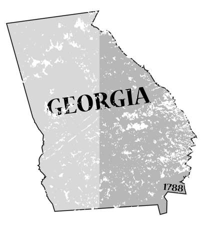statehood: A grunged Georgia state outline with the date of statehood isolated on a white background
