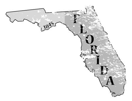 statehood: A grunged Florida state outline with the date of statehood isolated on a white background Illustration