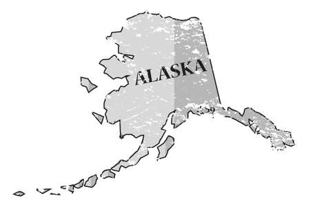 A grunged Alaska state outline with the date of statehood isolated on a white background