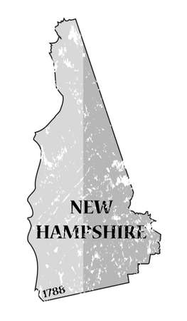 A grunged New Hampshire state outline with the date of statehood isolated on a white background Illustration