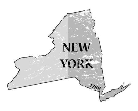 A grunged New York state outline with the date of statehood isolated on a white background