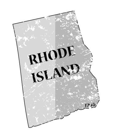 A grunged Rhode Island state outline with the date of statehood isolated on a white background Illustration
