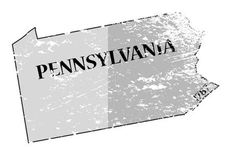 statehood: A grunged Pennsylvania state outline with the date of statehood isolated on a white background