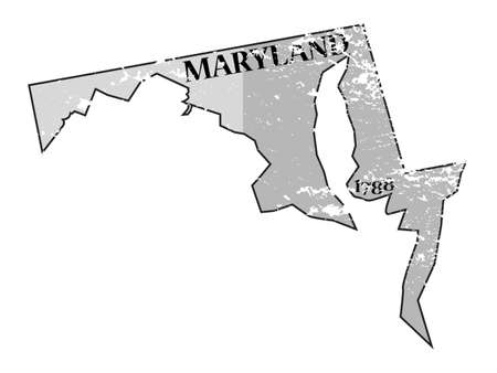 statehood: A grunged Maryland state outline with the date of statehood isolated on a white background