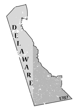 A grunged Delaware state outline with the date of statehood isolated on a white background