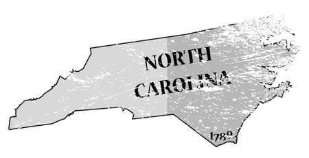 statehood: A grunged North Carolina state outline with the date of statehood isolated on a white background