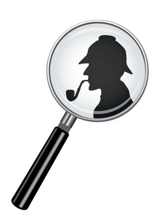 A realistic magnifying glass design with a Sherlock Holmes silhouette isolated on a white background