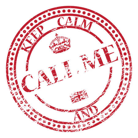 A keep calm and call me stamp isolated on a white background Illustration