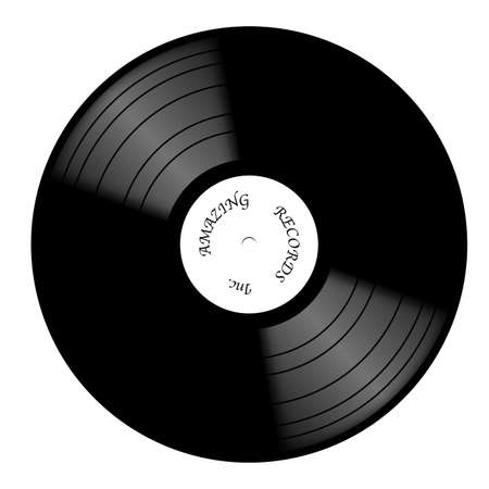 A vinyl record with white label isolated on a white background